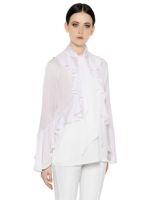 Givenchy | Белый Ruffled Techno Charmeuse Shirt