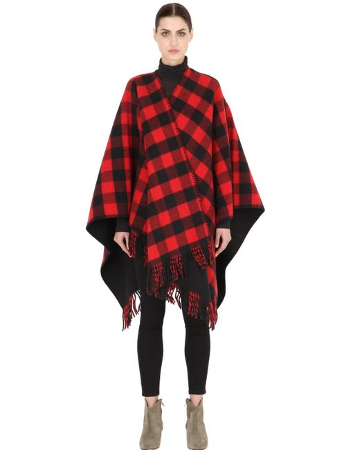 LA MÉRICAINE | Черный Lumberjack Checked Wool Blend Cape