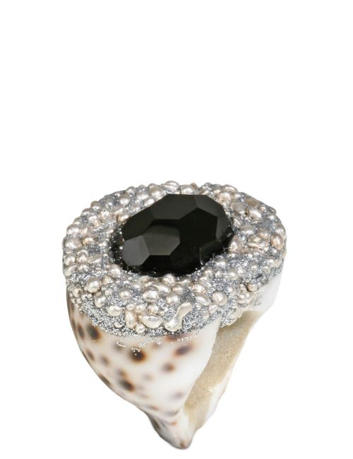MESI JILLY | Серебристый Cowrie Shell W Onyx Santorini Ring