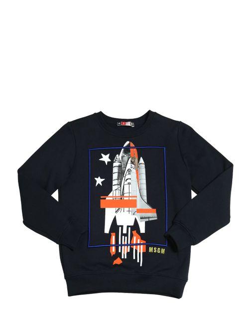 MSGM | Navy Rocket Printed Cotton Sweatshirt
