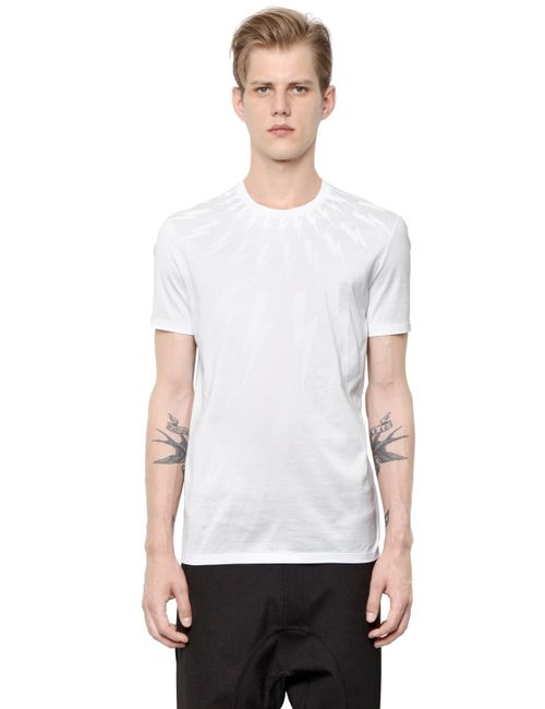 Neil Barrett | Белый Bolts Printed Cotton Jersey T-Shirt