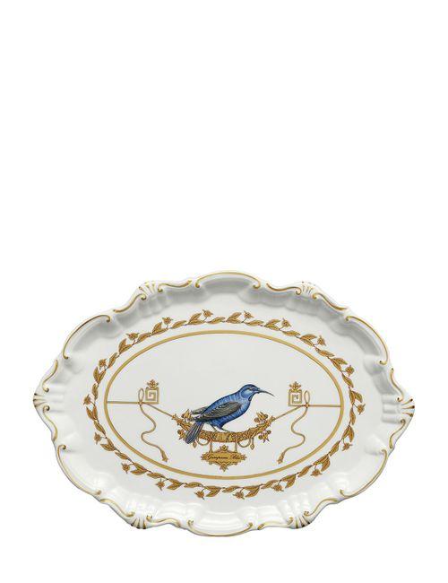 RICHARD GINORI 1735   Золотой Voliere Small Oval Porcelain Platter
