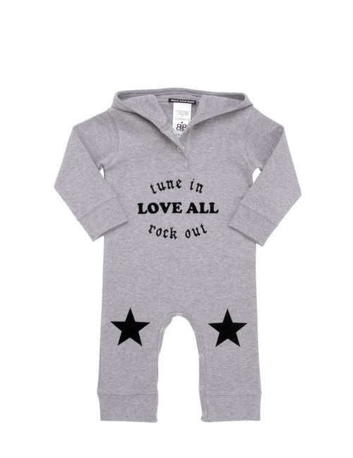 ROCK STAR BABY | Серый Hooded Flocked Cotton Interlock Romper