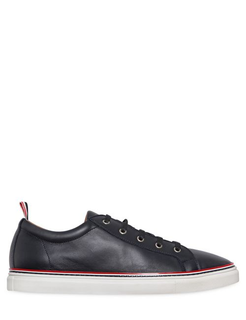 Thom Browne | Navy Leather Low Lace-Up Sneakers