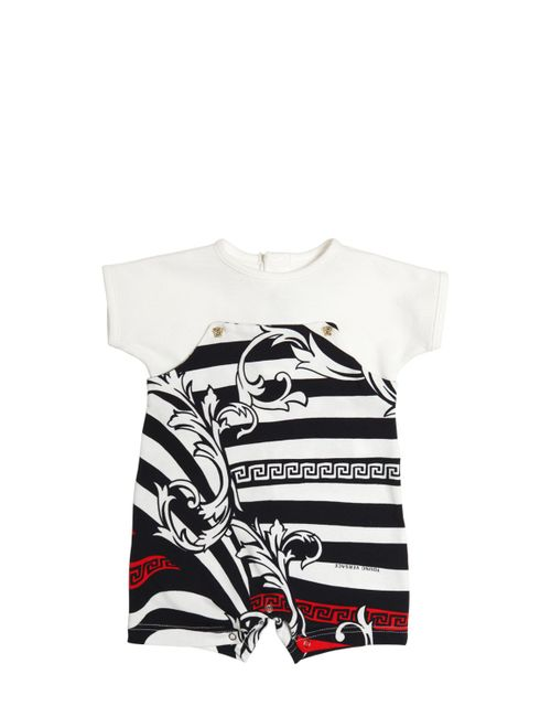 Young Versace | Белый Cotton Piqué Printed Jersey Romper