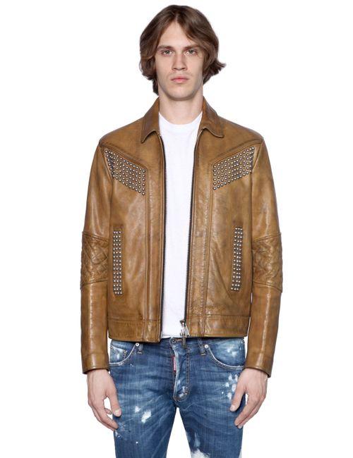 Dsquared2 | Studded Vintage Effect Leather Jacket