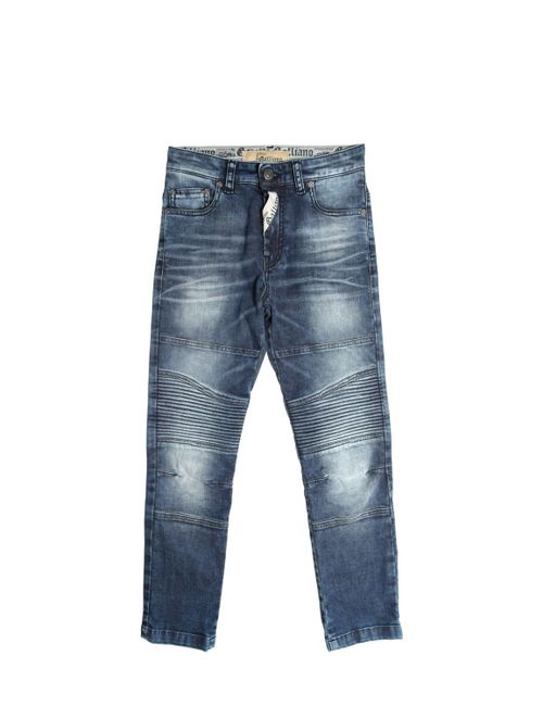 John Galliano | Denim Stretch Jeans W/ Biker Details