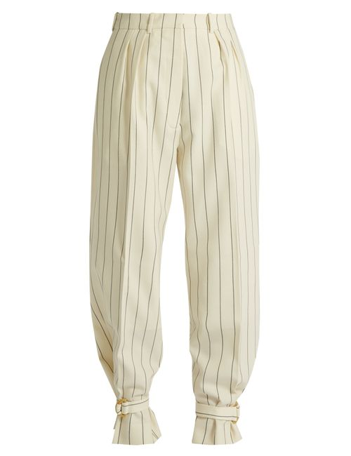 HILLIER BARTLEY | Cream Stripe Tie-Cuff Striped Wool Trousers