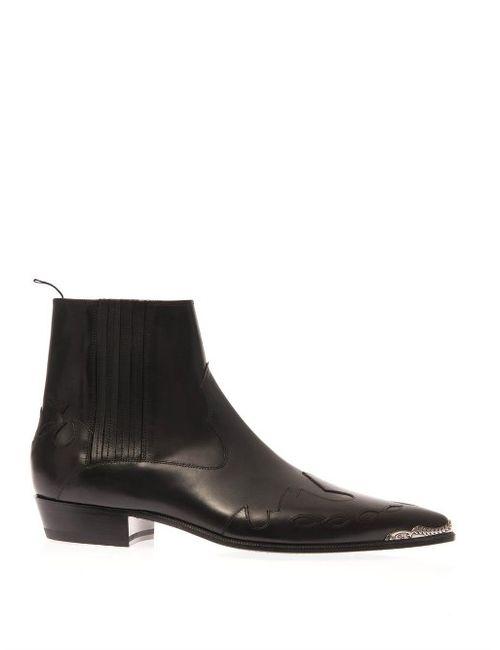 Saint Laurent | Мужское Черный Duckies Western Leather Boots