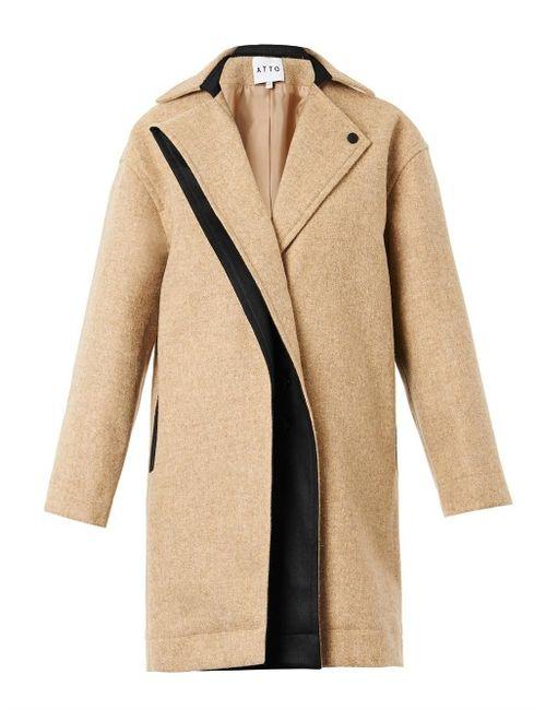 ATTO   Женское Чёрный Single-Breasted Textured-Wool Coat