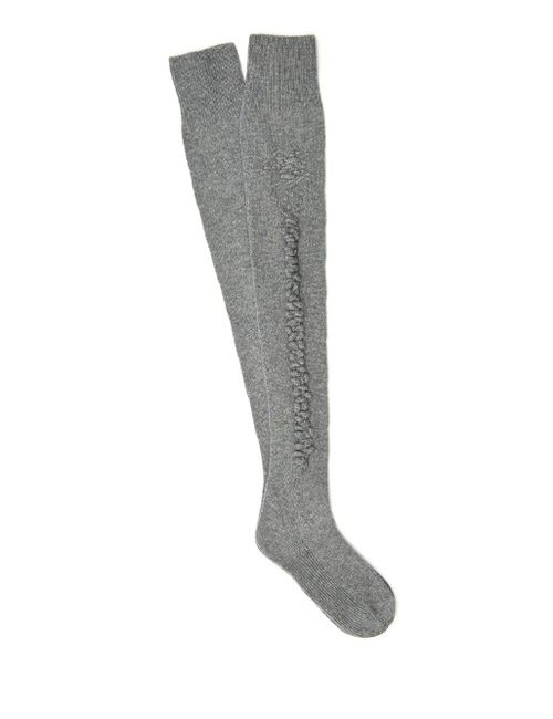BARRIE   Серый Romantic Cashmere Knee-High Socks