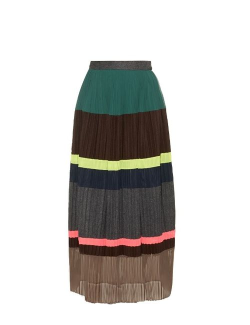 Kolor | Женское Коричневый Block Panel Pleated Wool-Blend Skirt