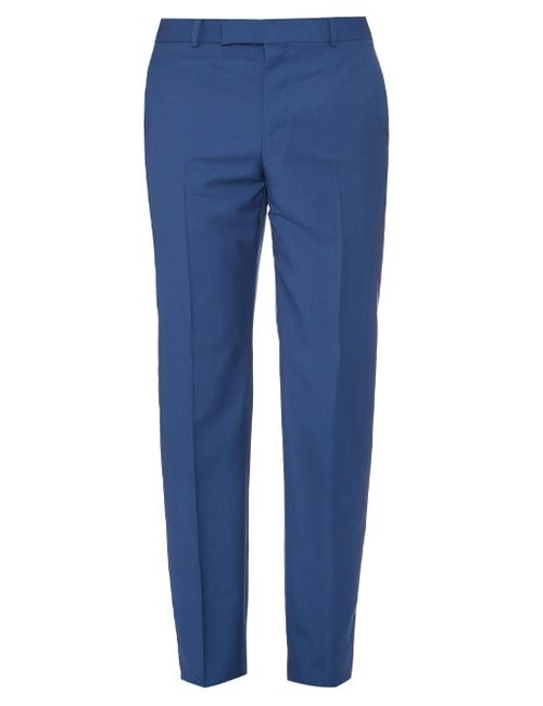 Alexander McQueen | Синий Mid-Rise Wool And Mohair-Blend Trousers