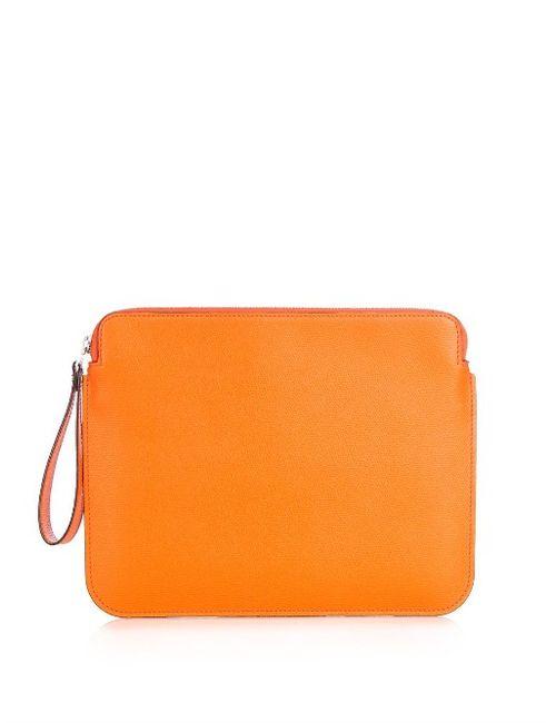 Valextra | Оранжевый Grained-Leather Tablet Pouch