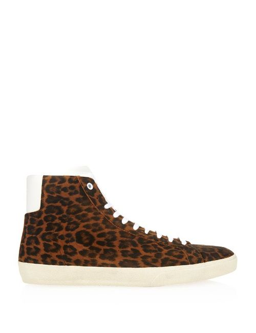 Saint Laurent | Мужское Коричневый Suede Leopard-Print High-Top Trainers