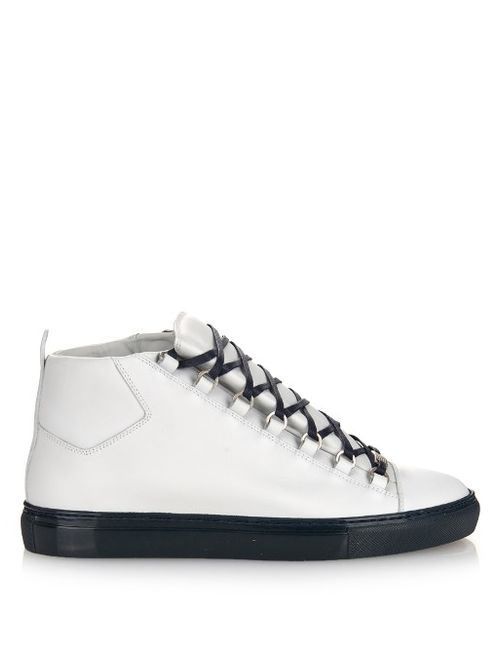 Balenciaga | Мужское Белый Arena Leather High-Top Trainers