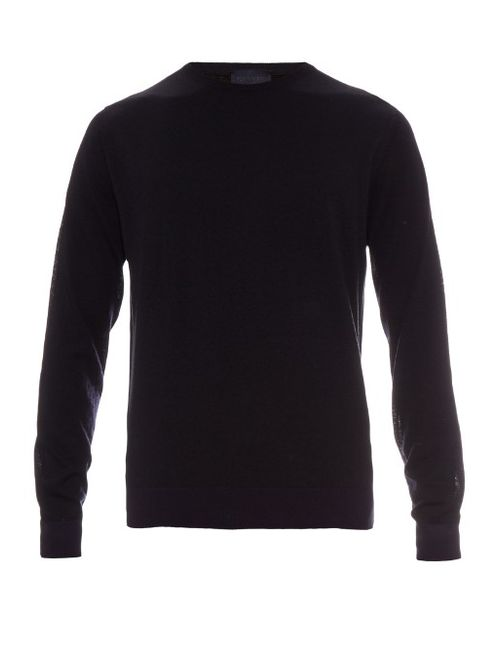 Lanvin | Мужское Navy Tri-Colour Cotton And Wool-Blend Sweater