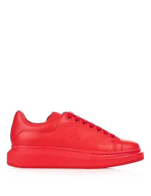 Alexander McQueen | Мужское Красный Raised-Sole Low-Top Leather Trainers