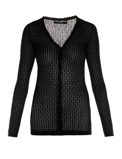 Dolce & Gabbana | Женское Чёрный V-Neck Chevron-Knit Silk Cardigan