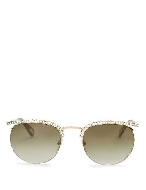 Lanvin   Женское Золотой Embellished Round-Frame Sunglasses
