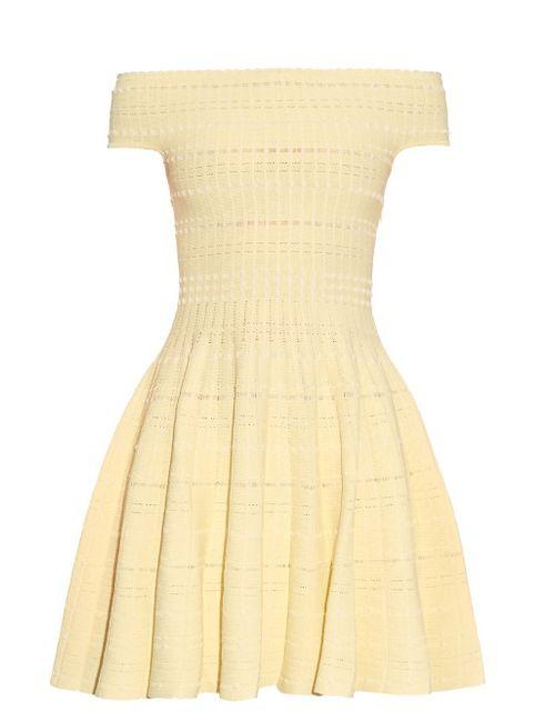 Alexander McQueen | Женское Желтый Off-The-Shoulder Knitted Mini Dress