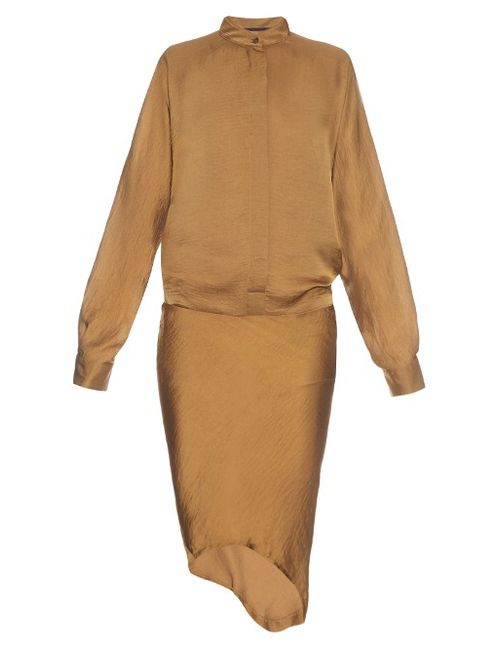 Haider Ackermann | Женское Золотой Myristicin Hammered-Satin Shirtdress