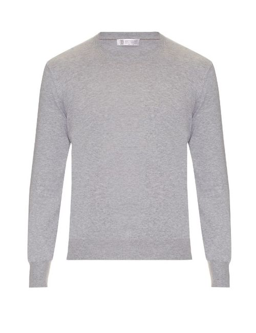 Brunello Cucinelli | Мужское Серый Elbow-Patch Cotton Sweater