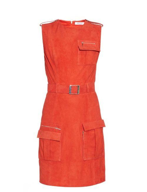 Mugler | Женское Красный Front-Pocket Belted Suede Dress