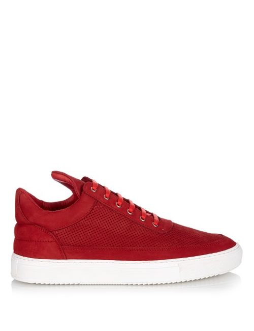 Filling Pieces | Мужское Красный Perforated Brushed-Leather Low-Top Trainers