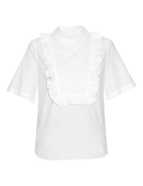Stella Jean   Женское Белый Frill-Bib Cotton-Blend Shirt