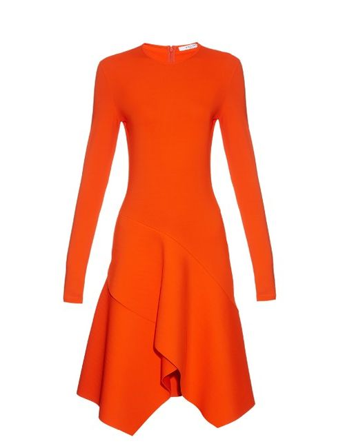Givenchy | Оранжевый Long-Sleeved Asymmetric-Hemline Jersey Dress