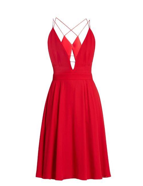 Lamania | Красный Selene Plunging V-Neck Sleeveless Crepe Dress