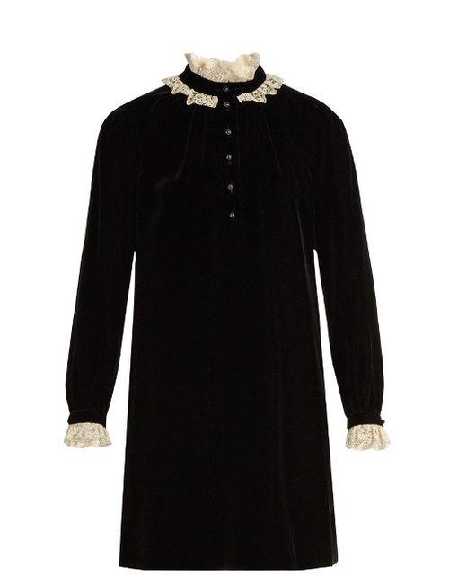 Saint Laurent | Чёрный Lace-Trimmed Velvet Mini Dress