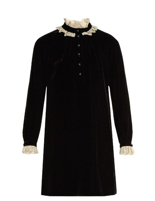 Saint Laurent | Черный Lace-Trimmed Velvet Mini Dress