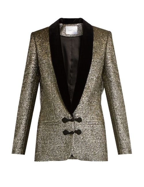 RACIL | Золотой Draco Velvet-Lapel Metallic-Brocade Jacket