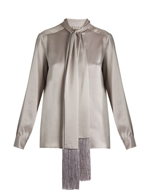 HILLIER BARTLEY | Женское Серый Fringed-Scarf Silk-Satin Blouse