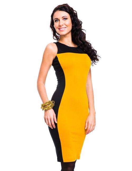 Mondigo | Женское Ярко-Горчичное Платье 5066