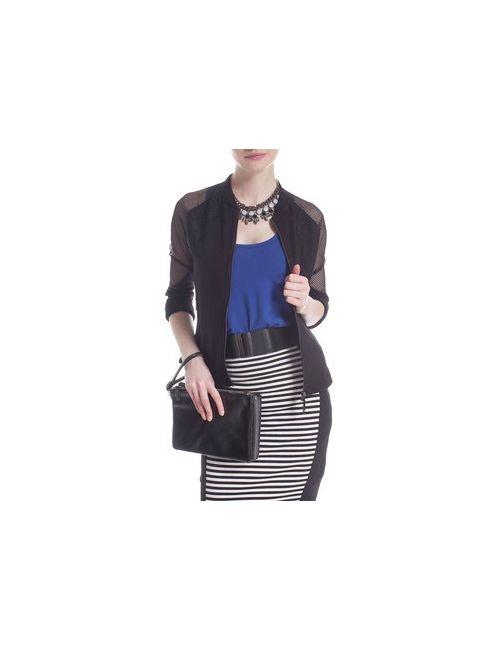 MOTIVI | Женская Синяя Фланелевая Рубашка С Молнией И Сетчатыми Аппликациями