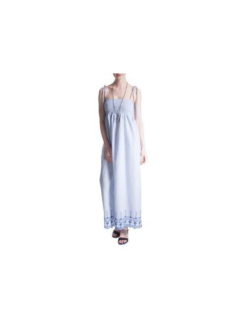 MOTIVI | Женское Синее Длинное Платье В Полоску С Вышивкой