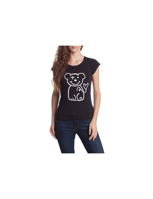 MOTIVI | Женская Черный Футболка С Набивным Рисунком Медвежонок.