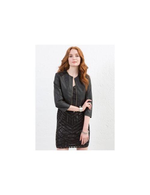 MOTIVI | Женская Коричневая Короткая Куртка Из Искусственной Кожи