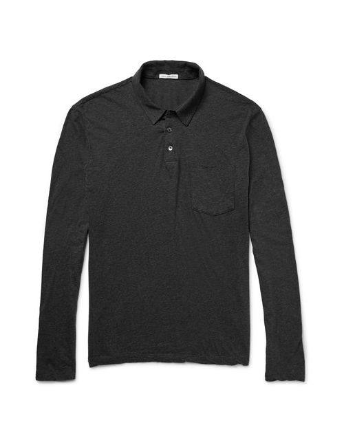 James Perse | Mélange Cotton-Jersey Polo Shirt Gray