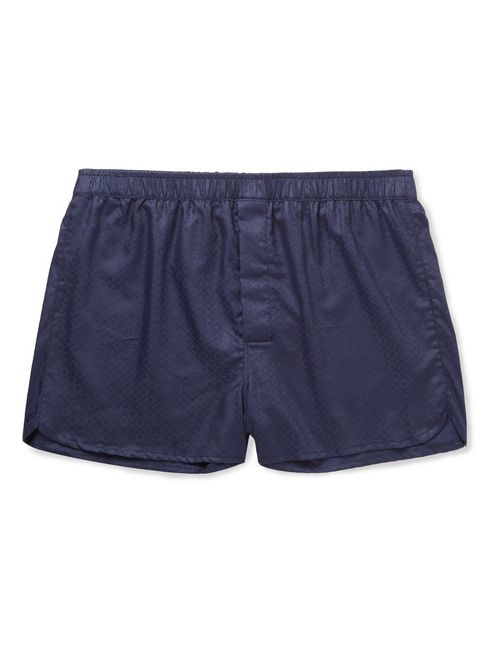 Derek Rose | Lombard Cotton-Jacquard Boxer Shorts Blue