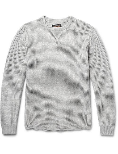 Beams Plus | Мужское Waffle-Knit Cotton-Blend Sweater Gray