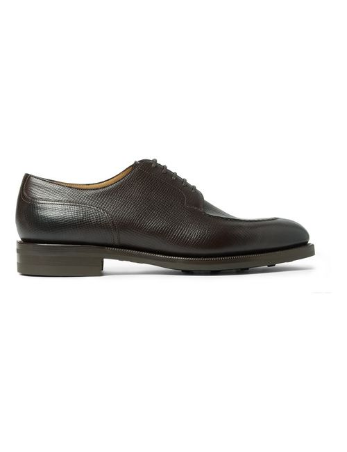 EDWARD GREEN | Chocolate Dover Cross-Grain Leather Derby Shoes