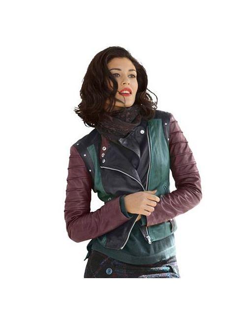 ALBA MODA GREEN | Женская Кожаная Куртка