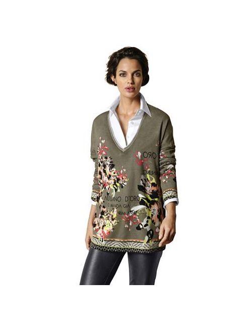 ALBA MODA GREEN | Женский Пуловер С V-Образным Вырезом
