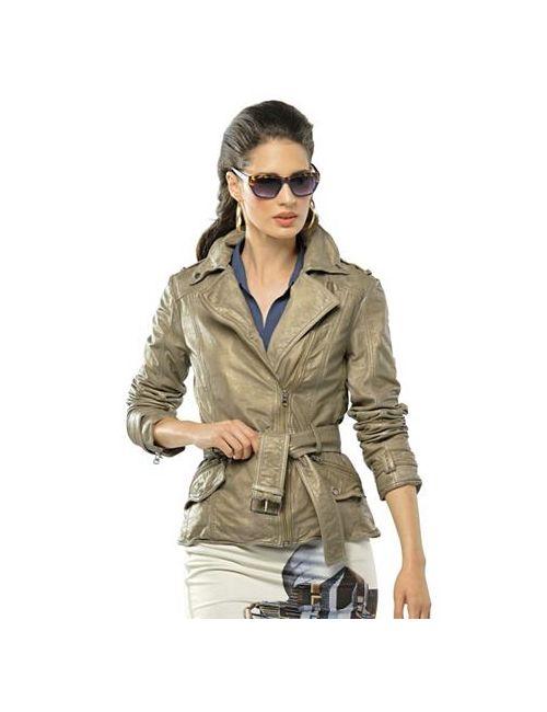 ALBA MODA WHITE | Женская Кожаная Куртка