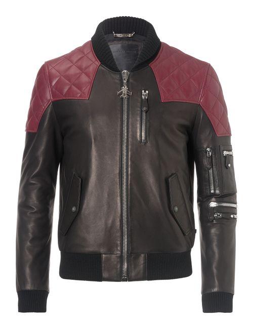 Philipp Plein | Чёрный Leather Jacket In The Army