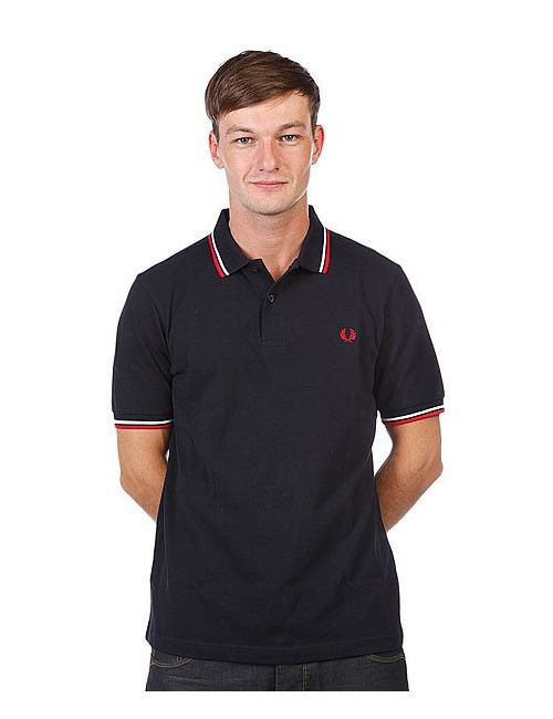 Fred Perry | Мужское Чёрное Поло Slim Fit Twin Tipped Black